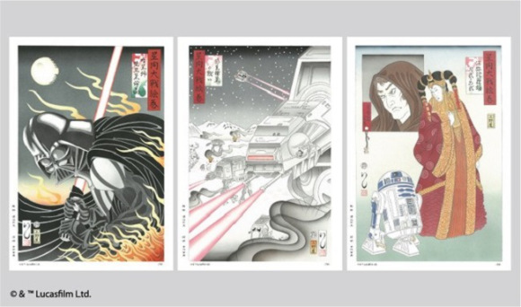 Ukiyo-e Star Wars stamps
