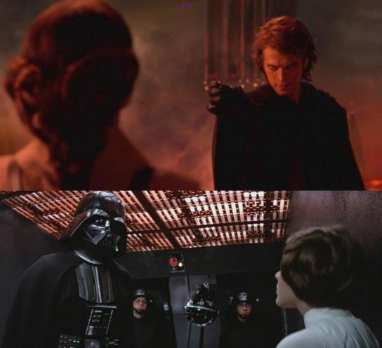 Anakin chokes Padme in ROTS after calling her a --liar-- and traitor. A movie later he is also torturing his --traitorous-- daughter, albeit with a droid. The position of Anakin and the women is reverse