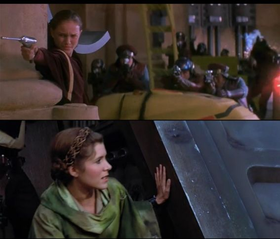 Padme leads the Naboo into the palace to capture Nute Gunray while Leia leads the Rebels on Endor to shut down the Death Star Shield.