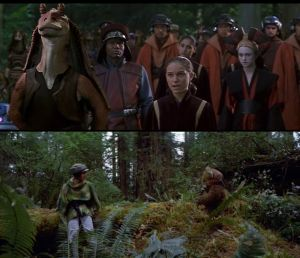 Padme (right) with uniting Gungan (left) while Leia is with Uniting Ewok on opposing sides of frame